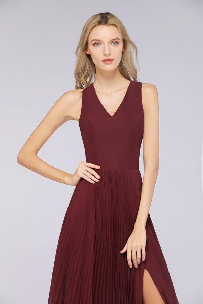 A-Line Satin Chiffon V-Neck Sleeveless Floor-Length Bridesmaid Dress with Ruffles_7