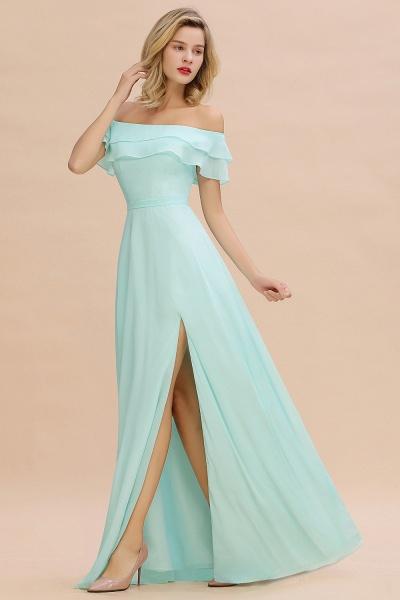 BM0775 Off-the-Shoulder Front Slit Mint Green Long Bridesmaid Dress_4