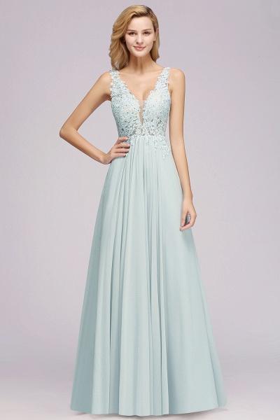BM0833 Sexy Chiffon Beaded Lace V-Neck Sleeveless Long Bridesmaid Dress_3