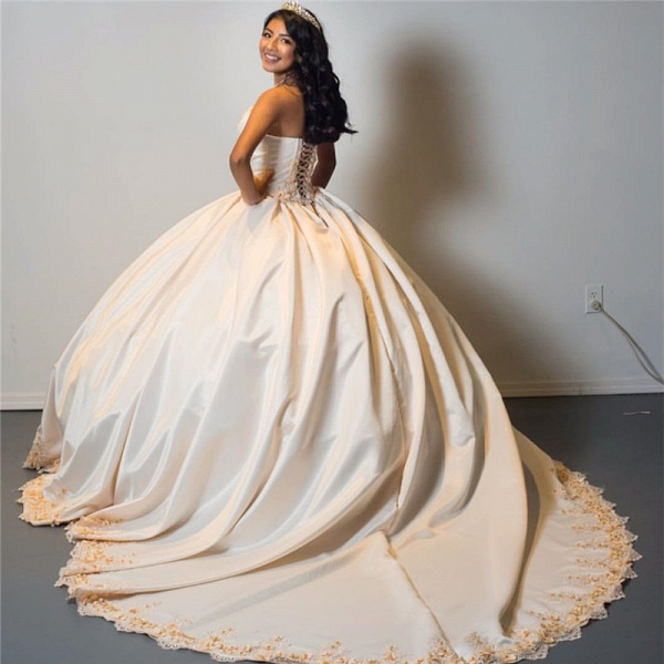 Beautiful Sweetheart Satin Ball Gown Quinceanera Dress_2