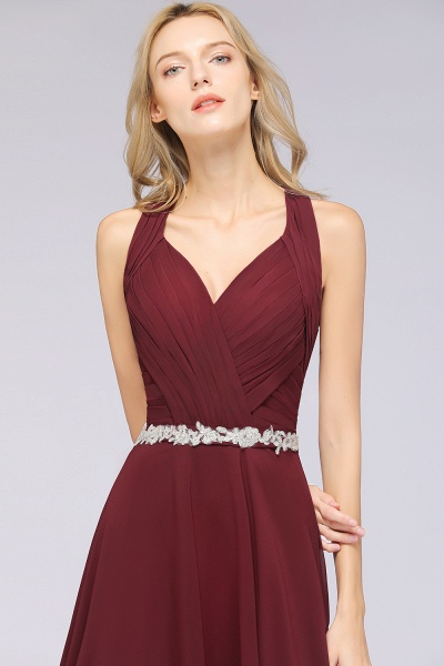 A-Line Chiffon Halter V-Neck Sleeveless Ruffle Floor-Length Bridesmaid Dress with Appliques Sashes_7