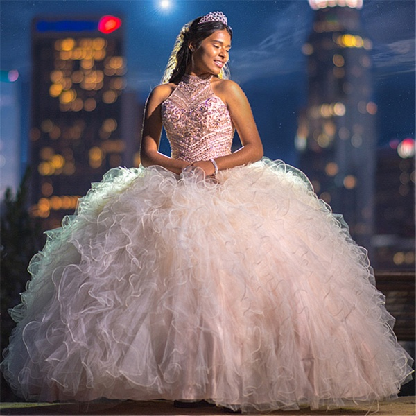 Modest High Neck Tulle Ball Gown Quinceanera Dress_1