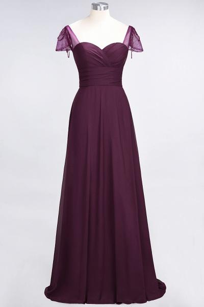 A-Line Chiffon Sweetheart Cap-Sleeves Ruffle Floor-Length Bridesmaid Dress with Beadings_19