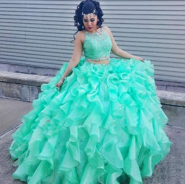 Best Jewel Organza Ball Gown Quinceanera Dress_1