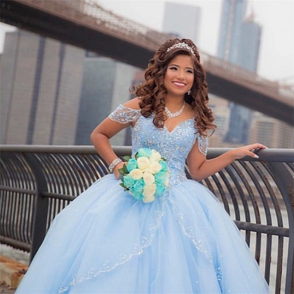 Latest Off-the-shoulder Tulle Ball Gown Quinceanera Dress_4