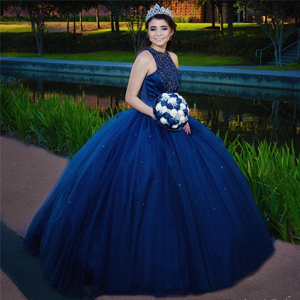 Beautiful Jewel Tulle Ball Gown Quinceanera Dress_2
