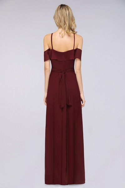 A-line Chiffon Spaghetti-Straps Sleeveless Ruffles Floor-Length Bridesmaid Dress with Bow Sash_2