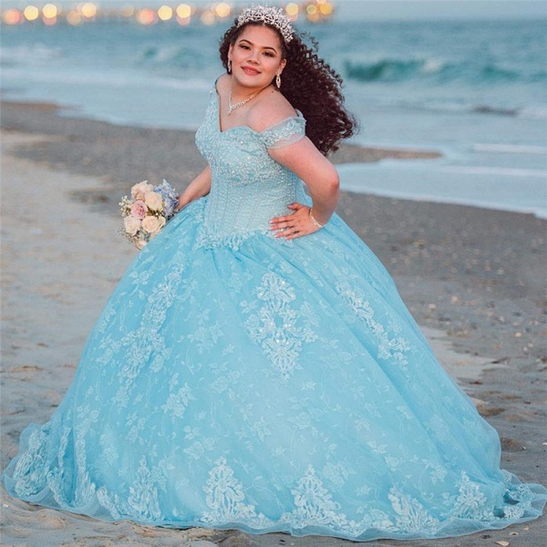 Amazing Off-the-shoulder Tulle Ball Gown Quinceanera Dress_1