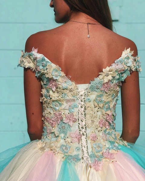 Attractive Off-the-shoulder Tulle Ball Gown Quinceanera Dress_4