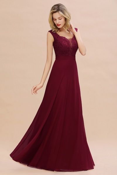 Elegant A-line Chiffon Lace V-Neck Sleeveless Floor-Length Bridesmaid Dress_1