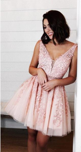 Chic Straps Beading Sash Homecoming Dress_4