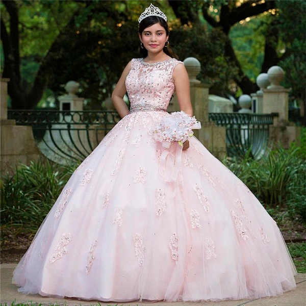 Eye-catching Jewel Tulle Ball Gown Quinceanera Dress_1