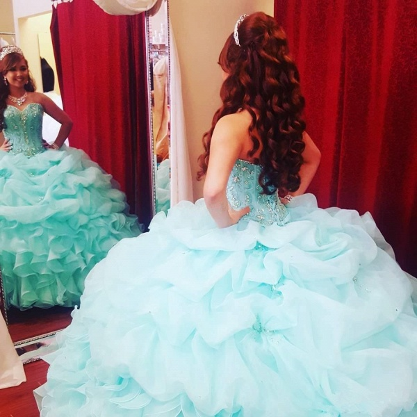 Fascinating Sweetheart Tulle Ball Gown Quinceanera Dress_2