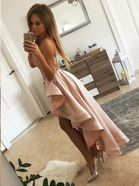 Chic Hi-Lo Sweetheart Strapless Homecoming Dress_2