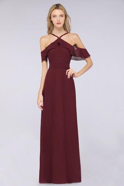 A-line Chiffon Spaghetti-Straps Sleeveless Ruffles Floor-Length Bridesmaid Dress with Bow Sash_1