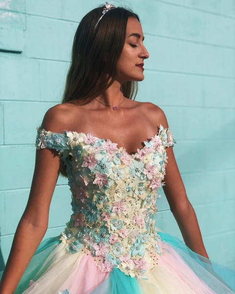 Attractive Off-the-shoulder Tulle Ball Gown Quinceanera Dress_3