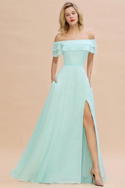 BM0775 Off-the-Shoulder Front Slit Mint Green Long Bridesmaid Dress_53