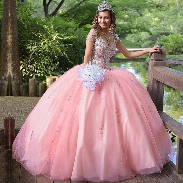 Excellent V-neck Tulle Ball Gown Quinceanera Dress_1