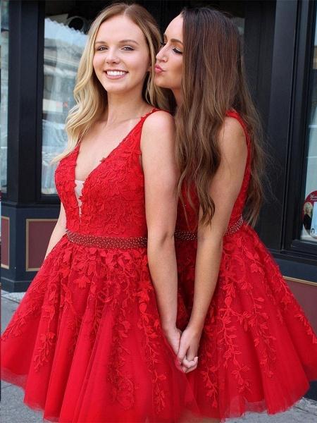 Chic Straps Beading Sash Homecoming Dress_3