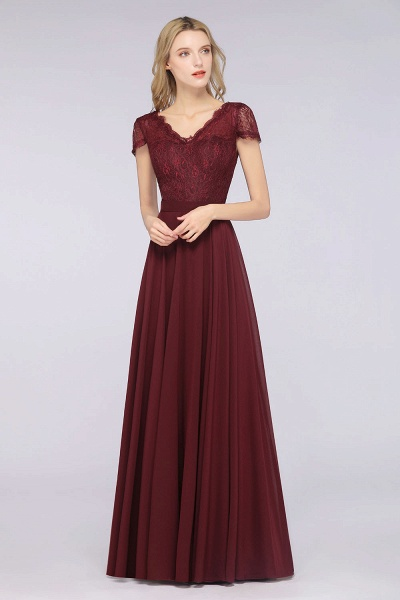 A-Line Chiffon Lace V-Neck Cap-Sleeves Floor-Length Bridesmaid Dress_4