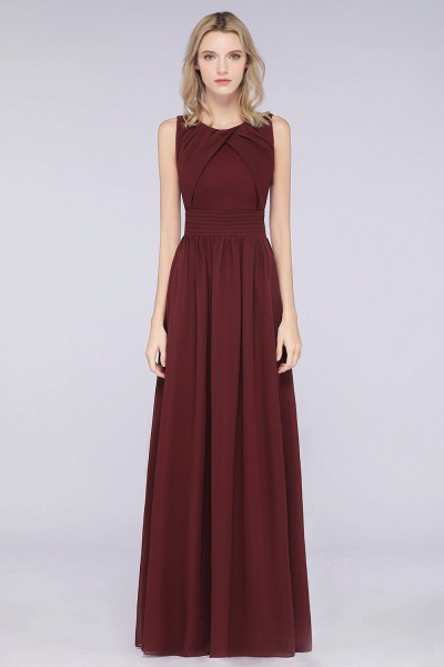 A-Line Chiffon Round-Neck Sleeveless Floor-Length Bridesmaid Dress with Ruffles_1