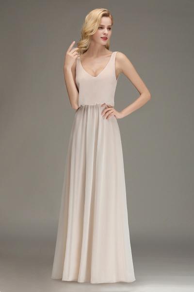BM0033 Elegant Straps Sexy V-Neck Long Bridesmaid Dress_6
