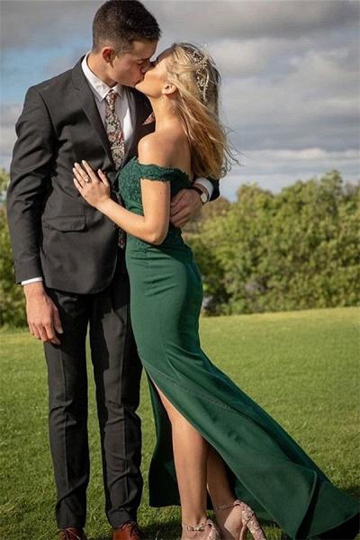 Modest Off-the-shoulder Appliques Mermaid Prom Dress_1