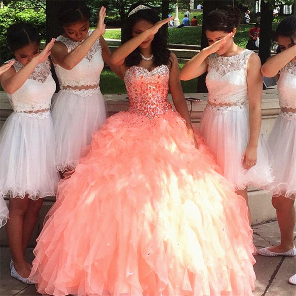Amazing Sweetheart Tulle Ball Gown Quinceanera Dress_1
