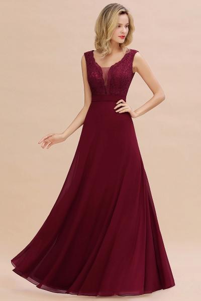Elegant A-line Chiffon Lace V-Neck Sleeveless Floor-Length Bridesmaid Dress_3