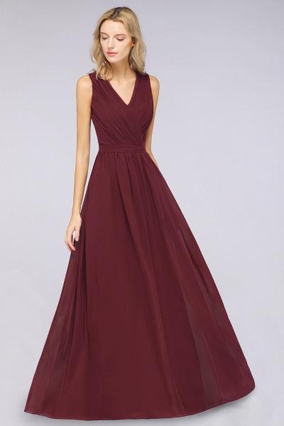 A-Line Chiffon Lace V-Neck Sleeveless Floor-Length Bridesmaid Dress with Ruffles_3