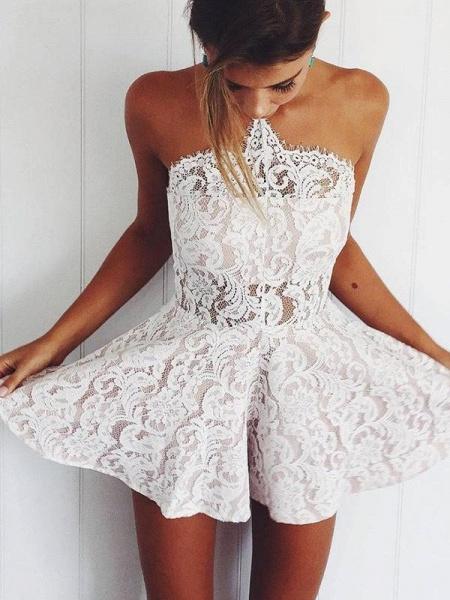 Stylish Lace Strapless Short Homecoming Dress_1