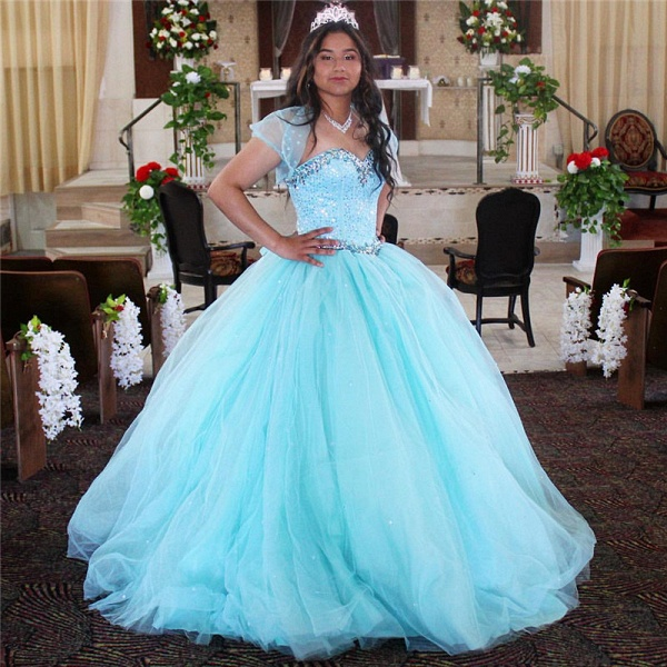 Sleek Spaghetti Straps Tulle Ball Gown Quinceanera Dress_1