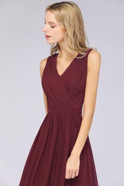 A-Line Chiffon Lace V-Neck Sleeveless Floor-Length Bridesmaid Dress with Ruffles_5