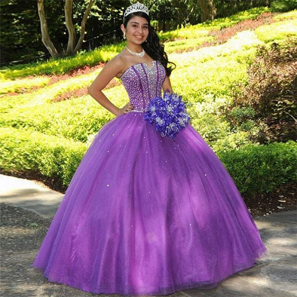 Eye-catching Strapless Tulle Ball Gown Quinceanera Dress_1