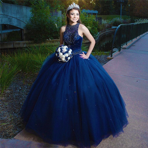 Beautiful Jewel Tulle Ball Gown Quinceanera Dress_1