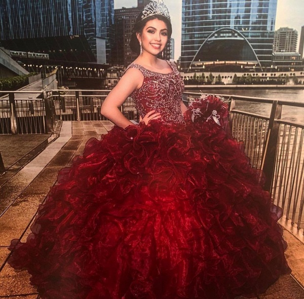 Affordable Scoop Organza Ball Gown Quinceanera Dress_1