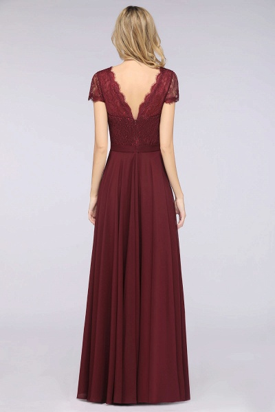 A-Line Chiffon Lace V-Neck Cap-Sleeves Floor-Length Bridesmaid Dress_2
