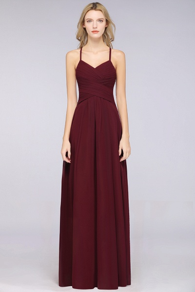 A-Line Chiffon Halter V-Neck Sleeveless Floor-Length Bridesmaid Dress with Ruffles_37