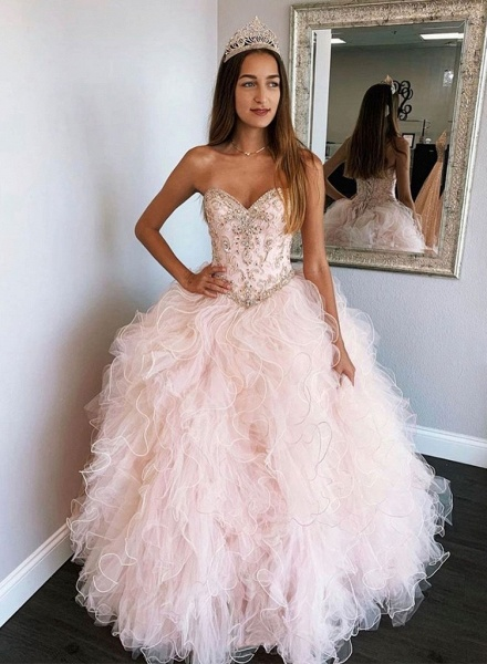 Affordable Sweetheart Tulle Ball Gown Quinceanera Dress_2