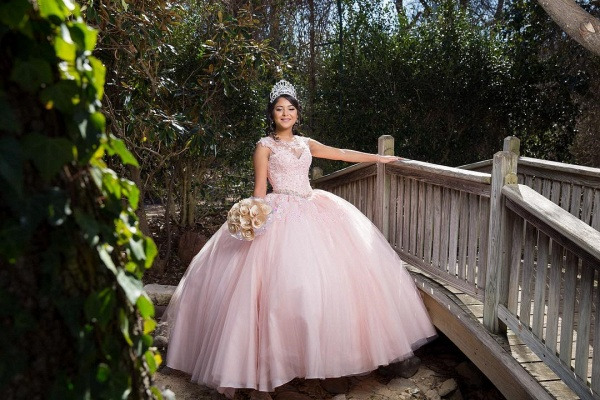 Affordable Jewel Tulle Ball Gown Quinceanera Dress_2