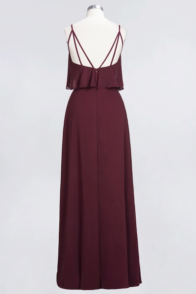 BMbridal Sexy Chiffon V-Neck Burgundy Chiffon Bridesmaid Dresses with Spaghetti Straps_8