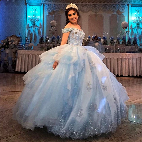 Exquisite Off-the-shoulder Tulle Ball Gown Quinceanera Dress_1