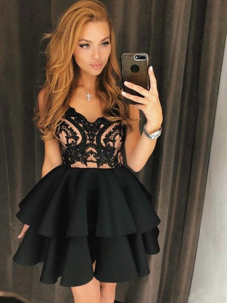 Black Straps A-Line Lace Homecoming Dress_1