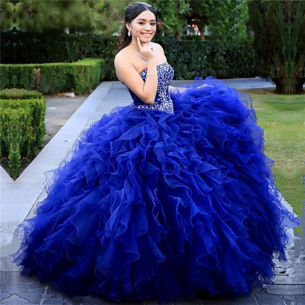 Graceful Strapless Tulle Ball Gown Quinceanera Dress_1