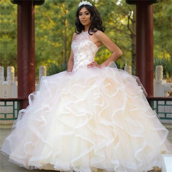 Sleek Jewel Tulle Ball Gown Quinceanera Dress_1
