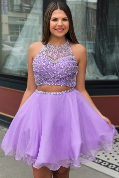Purple Crystal Halter Sleeveless Two-Piece Home-Coming Dress_1