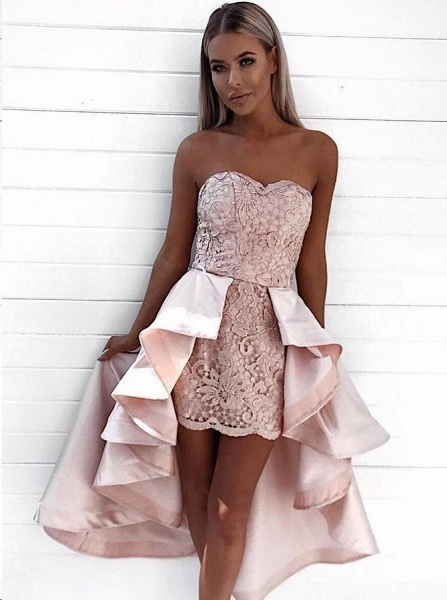 Chic Hi-Lo Sweetheart Strapless Homecoming Dress_3