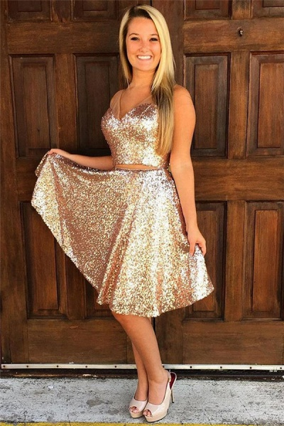Sequins V-Neck Sleeveless Short Homecoming Dress_1