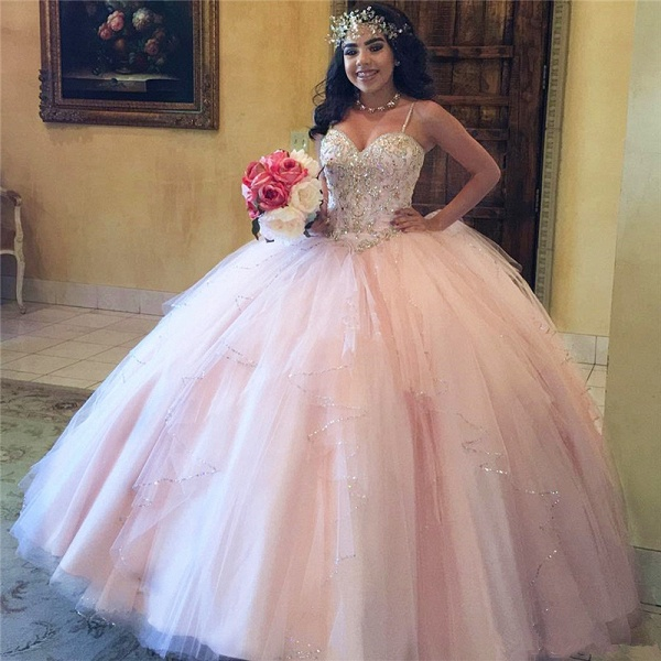 Latest Spaghetti Straps Tulle Ball Gown Quinceanera Dress_1