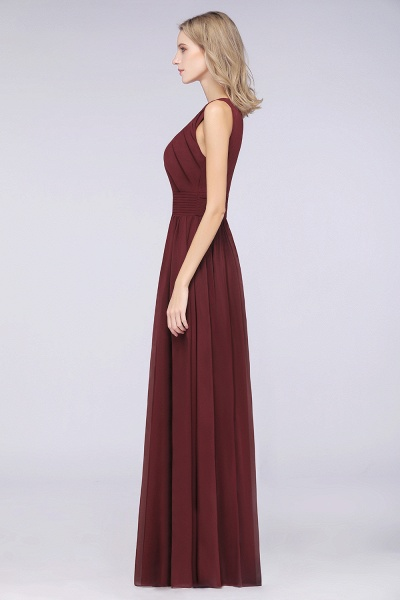 A-Line Chiffon Round-Neck Sleeveless Floor-Length Bridesmaid Dress with Ruffles_5